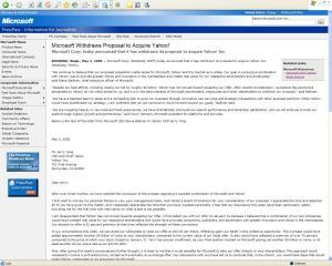 Carta de Microsoft informando el retiro de su oferta de compra de Yhoo!