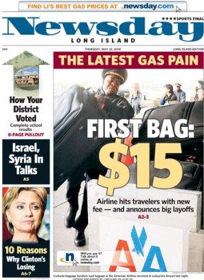 Portada del diario Newsday