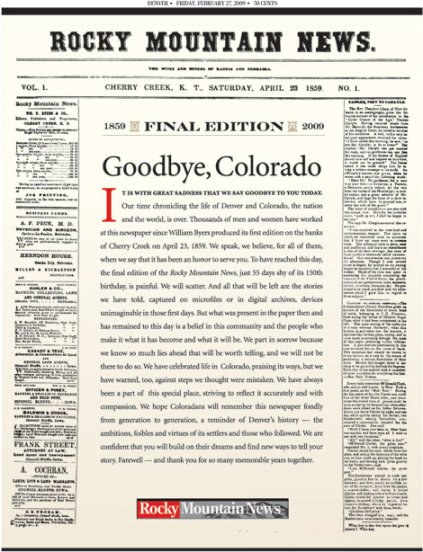 Portada de la edición final de The Rocky Mountain News