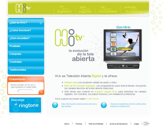 Página frontal del sitio de HI-TV