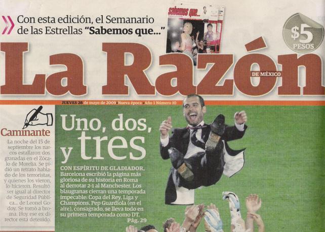 """Detalle de la portada de """"La Razón"""" del jueves 28 de mayo de 2010."""