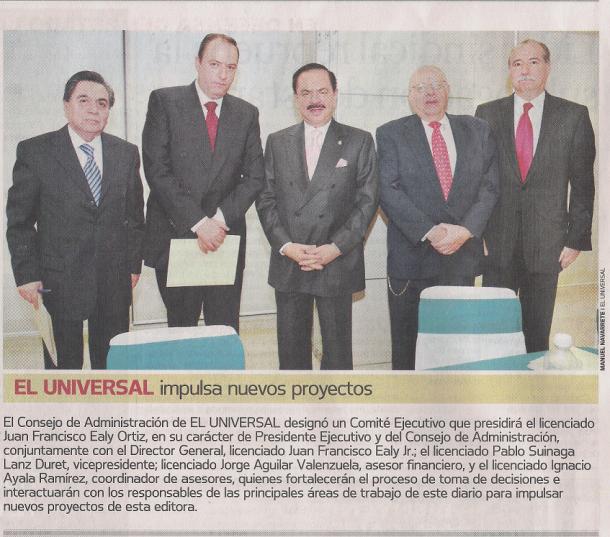 Nota periodística sobre la formación del Comité Ejecutivo de El Universal, 23 de junio de 2009.