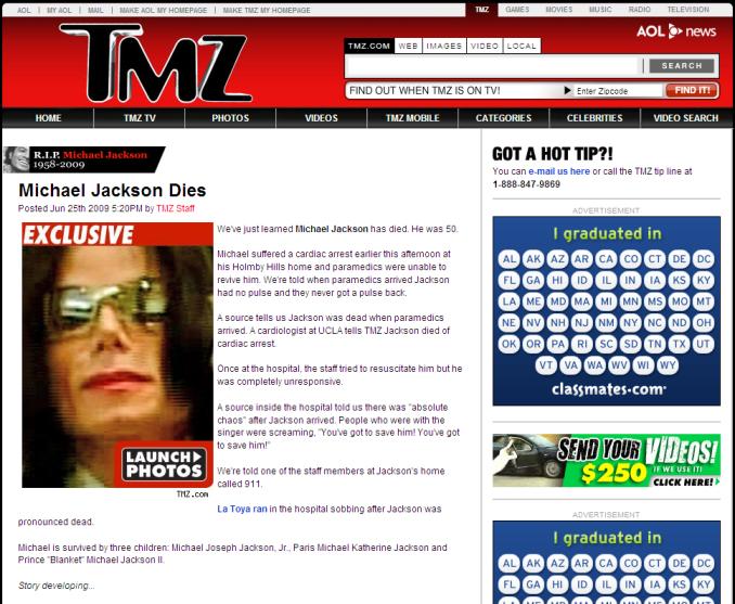 El reporte de TMZ sobre la muerte de Jakson. (Tomado del sitio de TMZ.com)