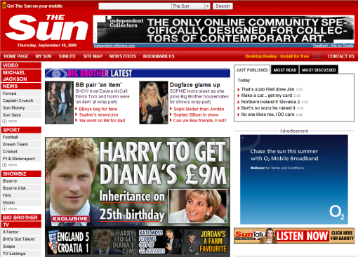 The Sun pagina frontal