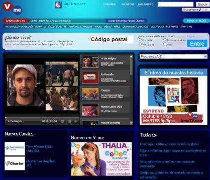 Detalle del portal de V-me Televisión.